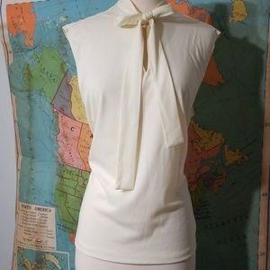 Vintage Cream Tie Neck Top